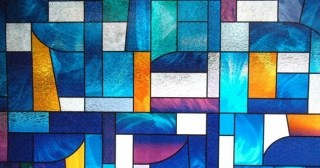 Abstract Stained Glass Window Film for Windows and Doors